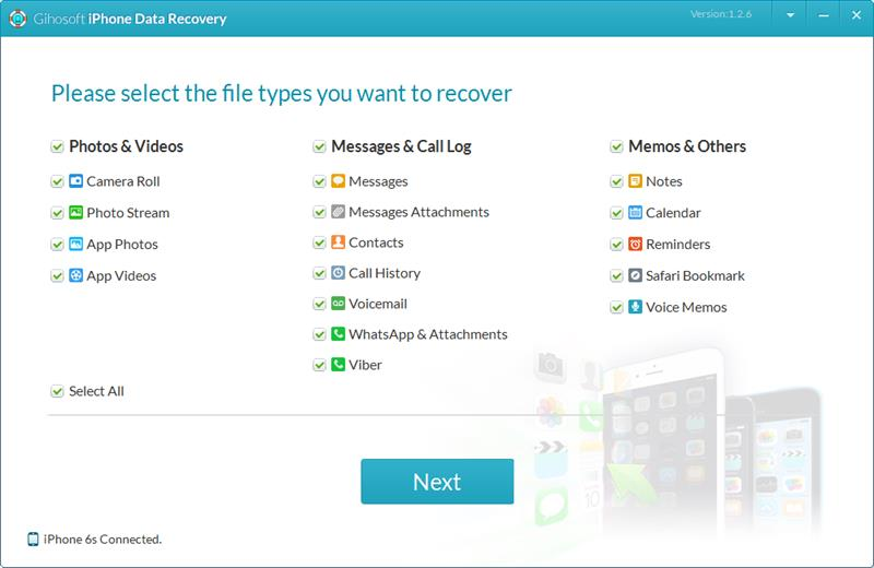 Click to view Gihosoft iPhone Data Recovery Free 1.2.6 screenshot