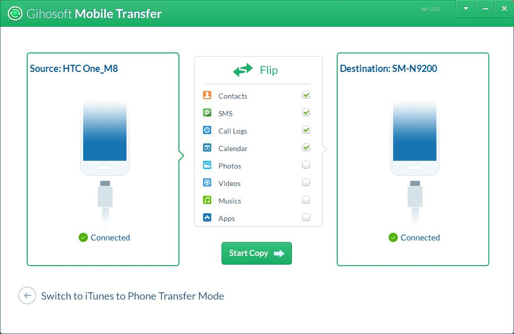 Transfer mobile phone files like contacts, SMS between Android, iOS and iTunes