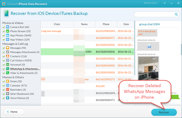Recover Deleted WhatsApp Messages and Photos from iPhone