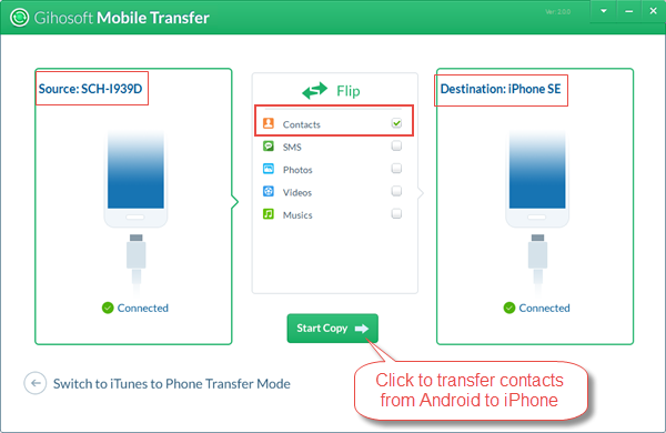 Transfer Contacts from Android to iPhone with Gihosoft Mobile Transfe