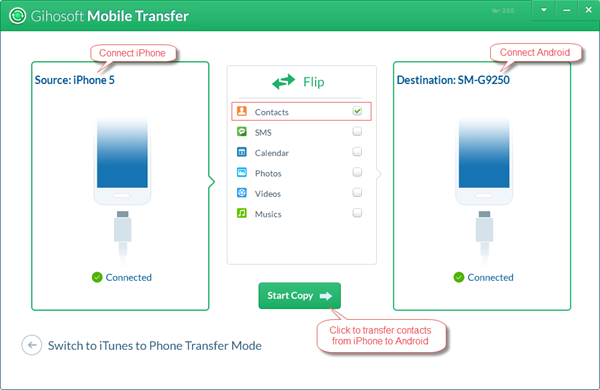 Transfer Contacts from iPhone to Android in a Click