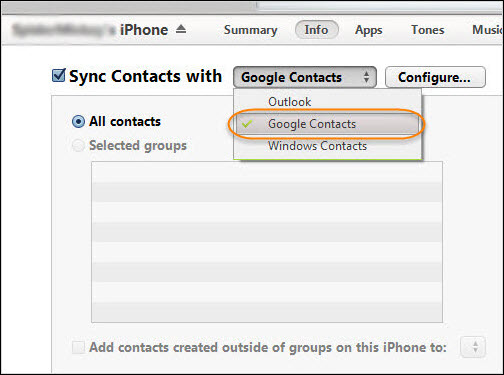 Transfer Contacts from iPhone to Samsung S6/S7 edge via iTunes