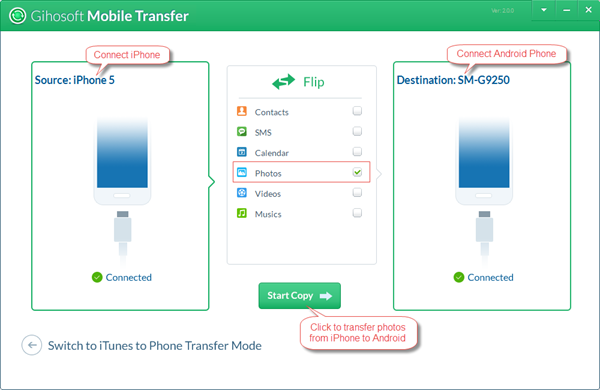 Transfer Photos from iPhone to Android in One Click