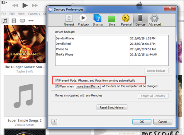 Disable automatic sync option in iTunes