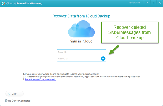 Recover Deleted SMS/iMessages from iCloud