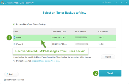 Recover Deleted SMS/iMessages from iTunes