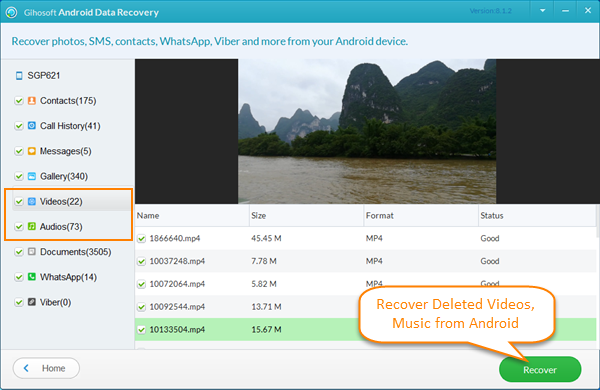 Recover Deleted Videos and Music from Android