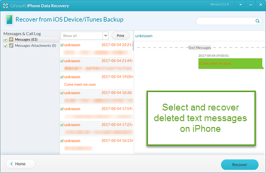 Recover SMS/iMessages from iPhone or iPad