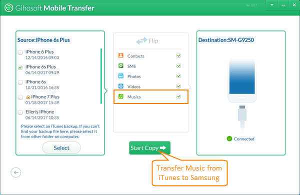 Transfer Music/Songs from iTunes to Samsung Galaxy
