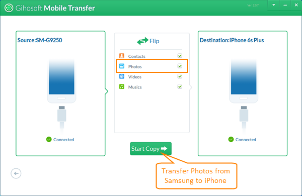 Transfer Photos/Pictures from Samsung Galaxy to iPhone
