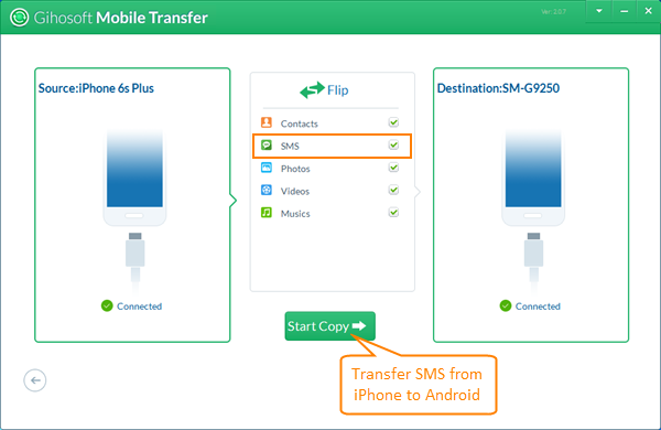 Transfer SMS/Text Messages from iPhone to Android