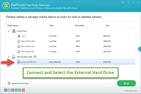 Select the Internal/External Hard Drive Where Photos Were Deleted.