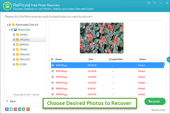 Preview and Retrieve Deleted Photos from External/Internal Hard Drive.