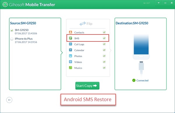 Restore Android SMS from Backup