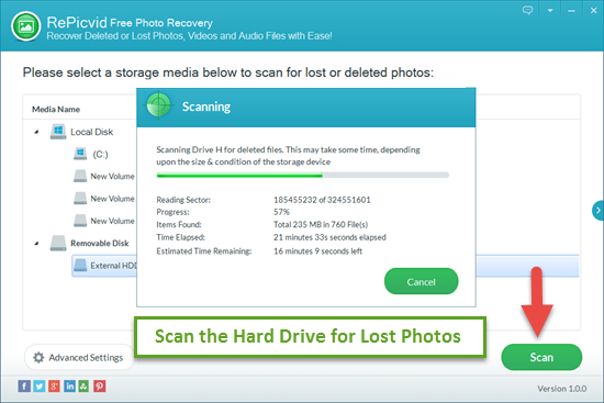 Scan Lost Photos on Internal/External Hard Drive.