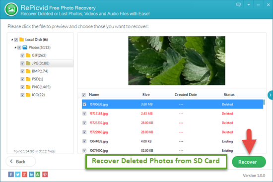 Preview and Retrieve Deleted Photos/Videos from SD Card