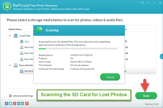 Select & Scan the SD Card for Lost Pictures/Videos