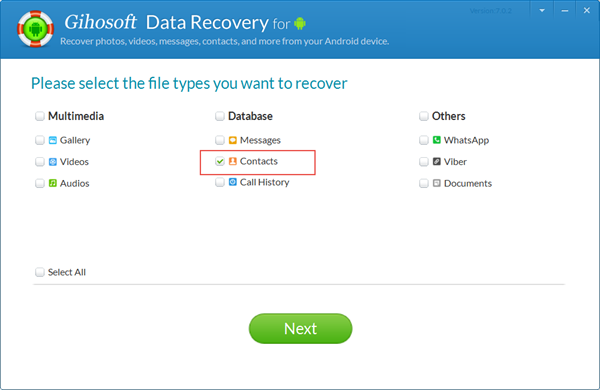Select Contacts to Backup