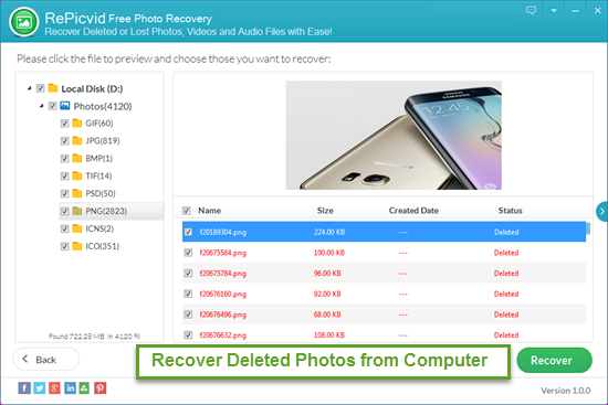 Preview and Recover Deleted Photos with RePicvid.