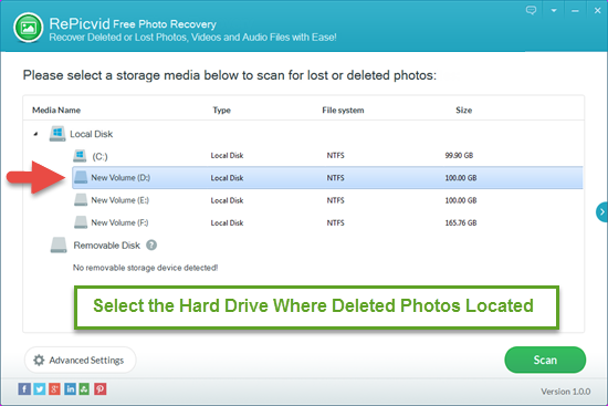 Select the Hard Drive Where You Deleted Photos with RePicvid.