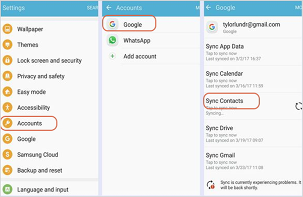 Sync Android Contacts with Gmail