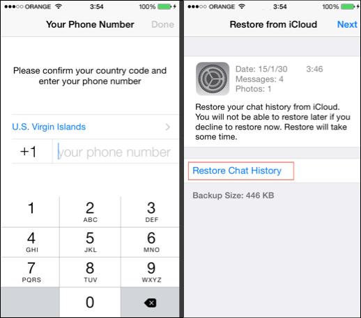 Restore WhatsApp from iCloud backup