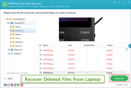 Preview & Recover Deleted Files/Photos from Laptop