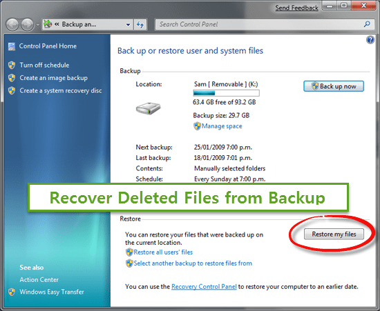 Restore Deleted Files on Laptop from Backup