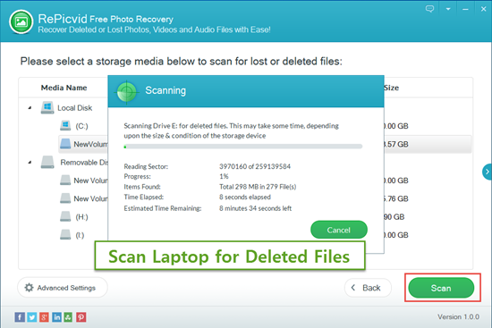 Scan the Laptop Disk for Deleted Files