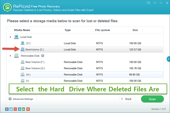 Select the Drive Disk on Laptop Where You Deleted Files/Photos/Videos