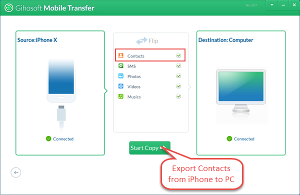 Export iPhone Contacts with Mobile Transfer