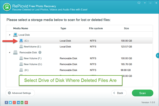 Select All File Types and Hard Drive Where Deleted Files Are