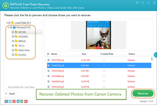 Recover Deleted Photos/Videos from Canon Camera.