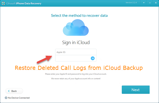 Restore Deleted Call Logs from iCloud Backup