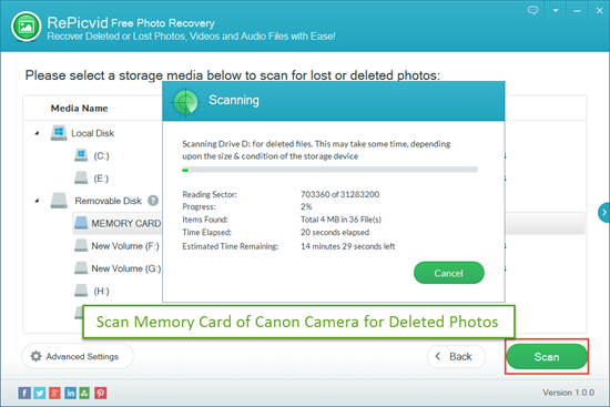 Scan Memory Card of Canon Camera for Deleted Photos/Videos.