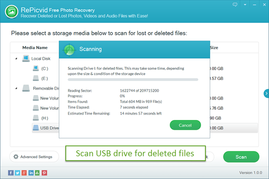 Scan Your USB Drive for Deleted or Lost Files