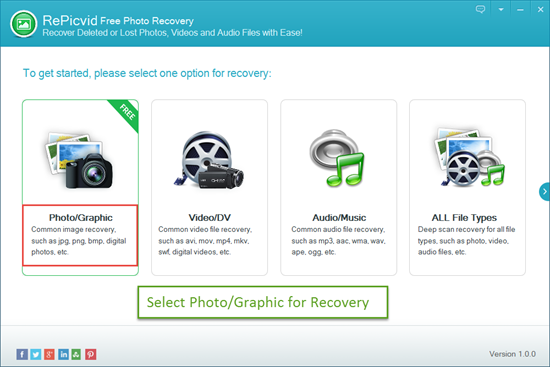 Select Photo/Graphic for Canon Photo Recovery.