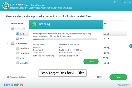 Scan Target Disk for All Lost/Deleted Files