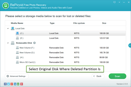 Select Original Disk Where Deleted Partition Is