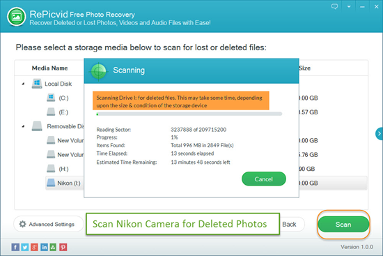 Scan Nikon Camera Memory Card for All Photos and Videos