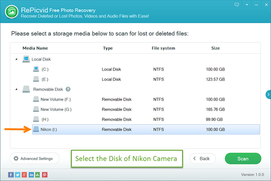 Select Your Camera for Nikon Photo Recovery