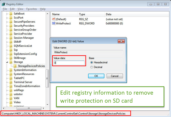 Modify Registry Information to Remove Write Protection from SD Card