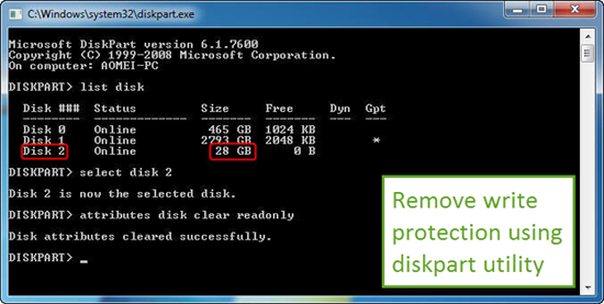 Remove Write Protection on SD Card with Disk-part Utility
