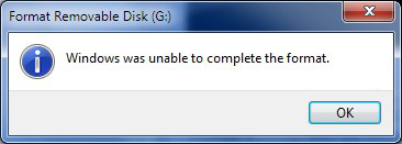 SD card/USB drive not formatting on windows