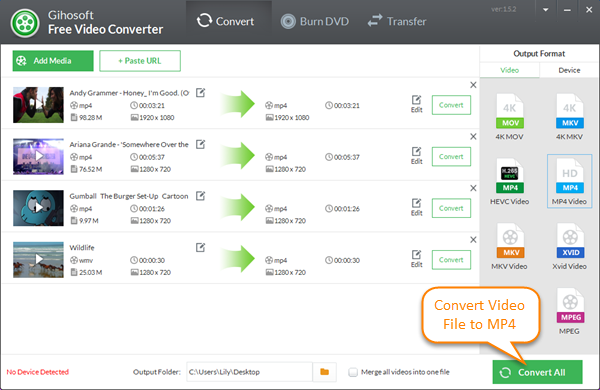 Convert video to mp4 with Gihosoft Free MP4 Converter