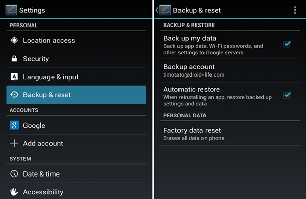 Remove Virus from Android Phone via Factory Reset