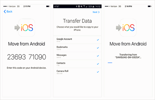 Transfer Data from Android to iPhone via Move to iOS