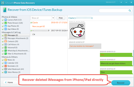 Directly Recover Deleted iMessages from iPhone