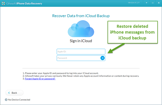 Retrieve Deleted Messages on iPhone from iCloud Backup