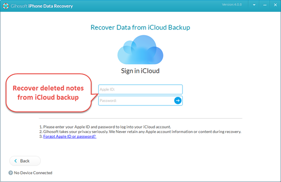 Retrieve Deleted Notes from iCloud Backup